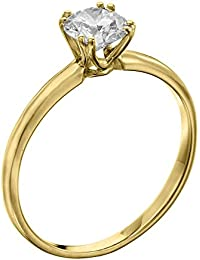 GIA Certified, Round Cut, Solitaire Diamond Ring in 14K Gold / Yellow (1/3 ct, K Color, SI2 Clarity)