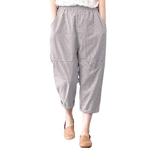 Damen Haremshosen Pumphose Leinenhose, Vintage Leinen Loose Elastisch Taille Hosen Freizeit Atmungsaktiv Wide-Leg Yogahose mit Taschen von LEEDY