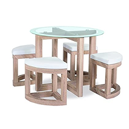 Greenheart Furniture (UK & Ireland) Stowaway dining set with 4 stools (Beech effect and round Glass top)