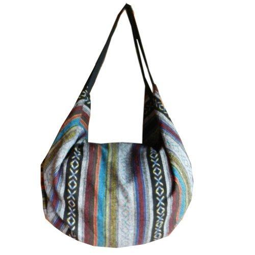 BenThai Products BTP Handtasche Handtasche Handtasche aus Baumwolle Hippie Hobo handgewebt Ikat, (Multicolor Ik4), X-Large