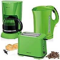 Set Desayuno, Cafetera de goteo 14 tazas, Tostadora de pan 2 rebanadas, Hervidor de agua eléctrico 1,7 litros, Verde estilo Colour Up