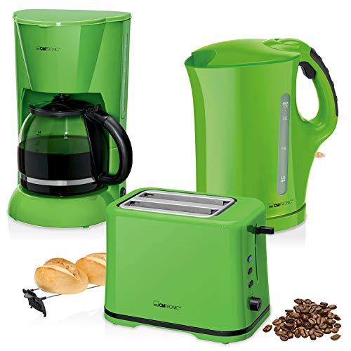 Clatronic Frühstücksset Colour Up Your Life, Kaffeemaschine für 14Tassen, Toaster für 2Scheiben und Wasserkocher von 1,7l, Grün -
