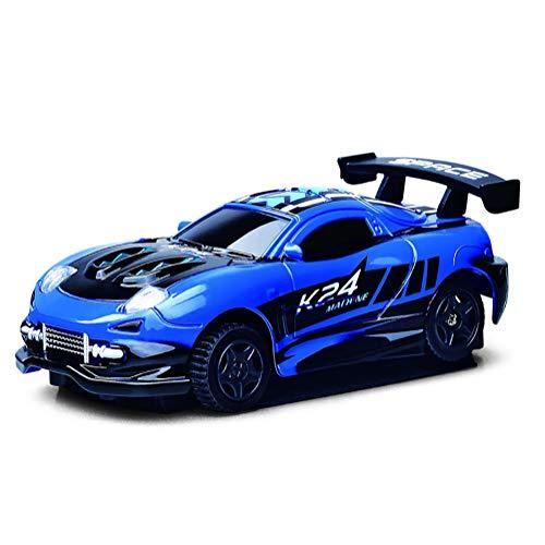 Qiulv Mini Pared Que Sube el Coche Vehículo teledirigido del LED 360 ° rotación Cero Gravedad Coche Modo Dual de la Pared y del Piso USB Recargable Racing para Adultos y niños Mejor Regalo,Blue