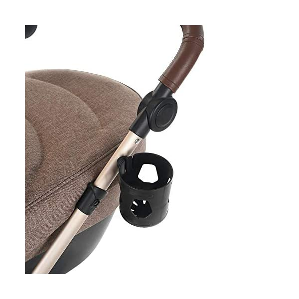 Roma Moda Pram, Includes Carry Cot, Rain Cover, Cup Holder and Bag - Tweed Roma Suitable from newborn - 15kg - Raised backrest in the carry cot Lightweight aluminium frame - All round suspension - Easy fold All terrain tyres (rear air tyres and front foam tyres) Large hood with viewing window 7
