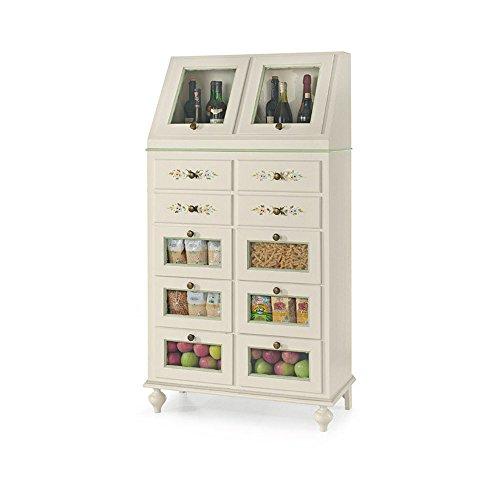 Buffet, style classique, en bois massif et MDF avec finition Blanc brillant avec des décorations - Dim. 80 x 42 x 153