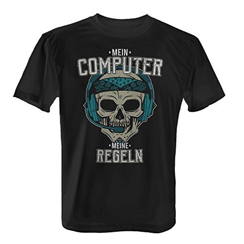 Fashionalarm Herren T-Shirt - Mein Computer - Meine Regeln | Fun Shirt mit Totenkopf & lustigem Spruch für PC Nerds Gamer Arbeit Beruf Job Büro Schwarz