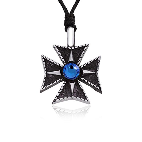llords-jewellery-classic-maltese-cross-necklace-pendant-with-blue-swarovski-crystal-fine-pewter-jewe