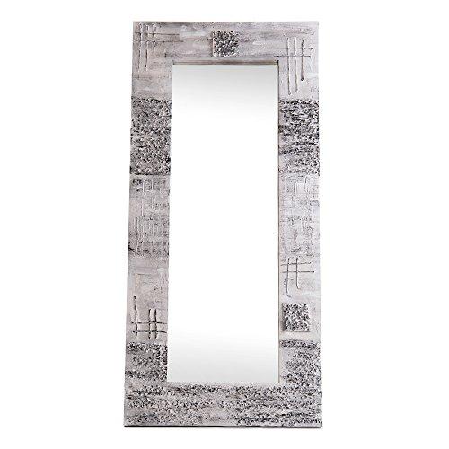 Lohoart L-1267-1 - Espejo sobre lienzo pintado artesanal, espejo pared color Plata, medidas: 150X70X15 cm