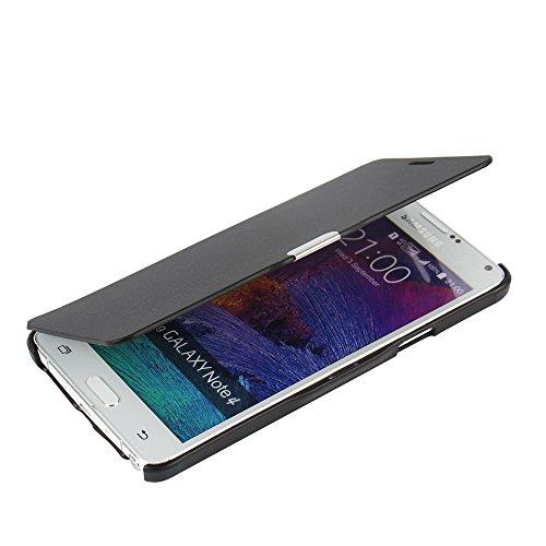 MTRONX für Samsung Galaxy Note 4 Hülle, Case Cover Schutzhülle Tasche Etui Klapphülle Magnetisch Dünn Leder Folio Flip für Samsung Galaxy Note 4 N9100 - Schwarz(MG-BK)