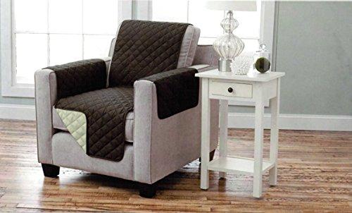 Sesselschoner zweiseitiger Sesselüberwurf Sesselauflage Polsterschutz Sesselbzug - gesteppt mit Armlehnen und drei Taschen - Größe: 1-Sitzer ca. 191 x 165 cm - Farbe: Braun/Beige