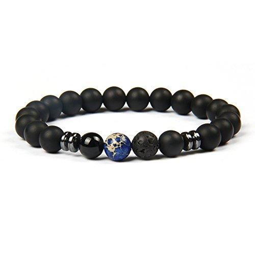 GOOD.designs Chakra Perlenarmband aus Onyx und Lavastein Natursteinperlen, Energiearmband mit bunter Jaspis Perle, Yoga-Armband für Damen und Herren (Blau Marmor)