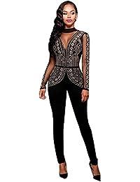 CHENGYANG Femme Rhinestone Combinaison Pantalon Manche Longue Casual Jumpsuit Romper