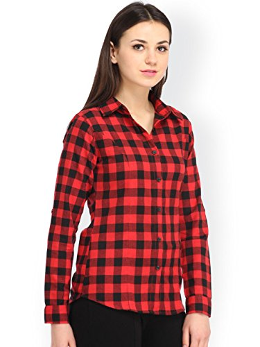 DAMEN-MODE-WOMEN-RED-CHECK-SHIRT
