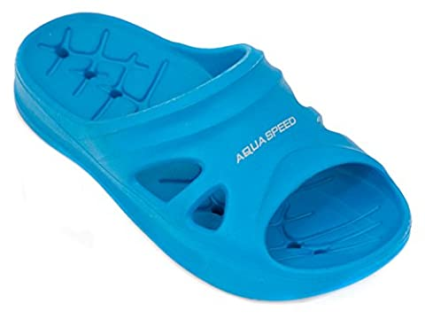 AQUA-SPEED Kinder Badeschuhe Badelatschen Schwimmbadschuhe Florida 01, blau,