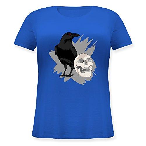 Totenkopf - M (46) - Blau - JHK601 - Lockeres Damen-Shirt in großen Größen mit Rundhalsausschnitt ()