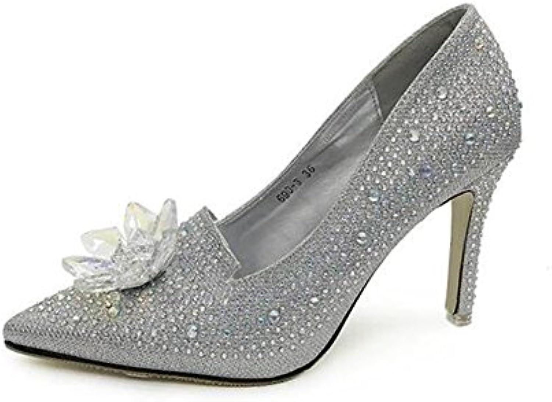 SHINIK Scarpe da donna Europa e Stati Uniti Uniti Uniti Scarpe Estate New Shallow Pointed Strass Point Fine With High-heeled... | Pregevole fattura  7dbb24