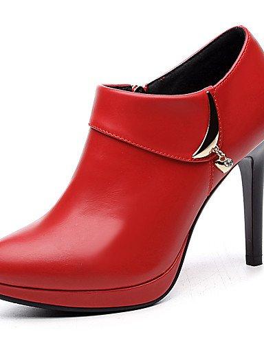 WSS 2016 Chaussures Femme-Mariage / Habillé / Soirée & Evénement-Noir / Rouge-Talon Aiguille-Talons-Chaussures à Talons-Similicuir black-us5 / eu35 / uk3 / cn34