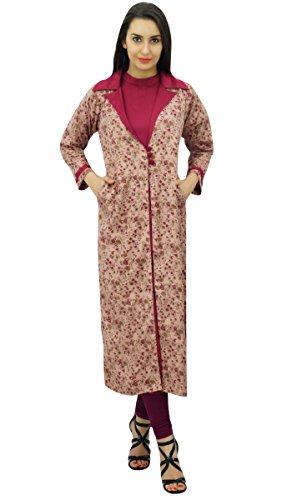Bimba femmes dames 2 pièces droites kurta avec la d'hiver de veste imprimée pêche et magenta