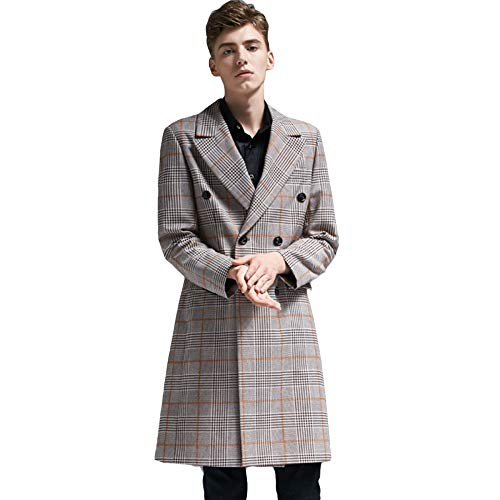 MERRYHE Männer Formelle Anzüge Great Coat Classic Check Trenchcoat Revers Oberbekleidung Mode Mantel Vintage Jacke,Yellow-2XL(Bust/116cm)