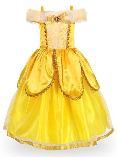 JerrisApparel Prinzessin Belle Kostüm Deluxe Party Schick Ankleiden für Mädchen (4 Jahre, Gelb 2)