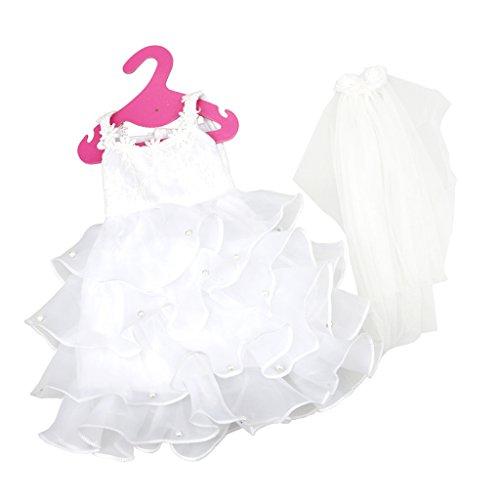 Preisvergleich Produktbild Gazechimp Amerikanischen Mädchen Puppen 4 Geschichte Hochzeit Kleidung mit Schleier
