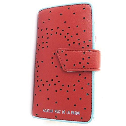 Agatha Ruiz de la Prada [N4884] - Portefeuille 'Agatha Ruiz de la Prada' rouge - coeurs perforés (M)