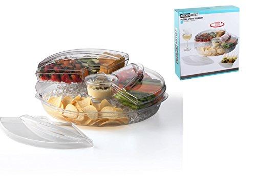 Drehbare Snackschale mit 6 Fächer für Vorspeisen oder Aperitifs Acryl Servierschale (Dippschale, Snack-Teller, Schale für Süßigkeiten, Vorspeisenplatte)