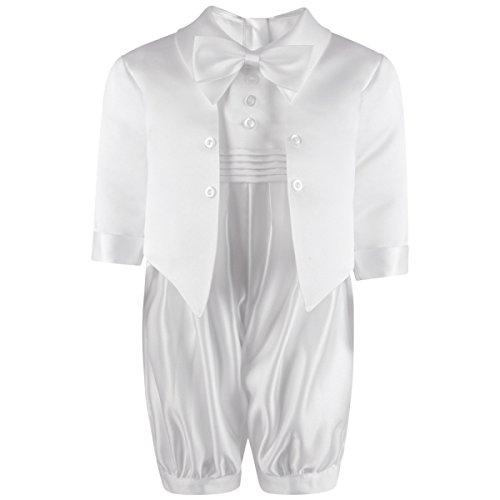 Traje para bebé, para bautismo, color blanco/crema, con moño y botones en el frente de Freshbaffs. blanco blanco Talla:12-18months