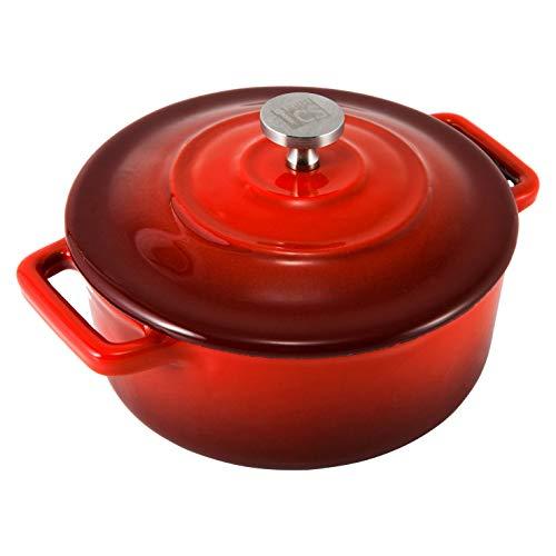 Rot-kochsystem (CS Kochsysteme Mini-Bräter XANTEN Brattopf aus Gusseisen ✔ Backofenfest ✔ Spülmaschinengeeignet ✔ PronamelPlus-Antihaftbeschichtung ✔ induktionsfähig ✔ PTFE und PFOA-Frei (Rot))