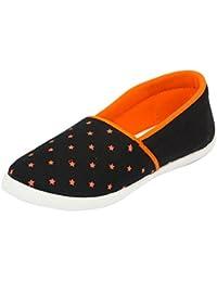 Asian shoes LR-91 Black Orange Canvas Ladies Shoes
