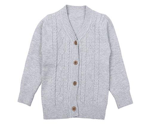 Zhuannian Baby Jungen Mädchen V-Ausschnitt Strickjacke Unisex Stricken Cardigan Langarm Outwear Mit Knopf (92, Grau)