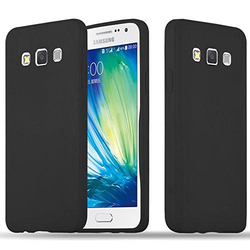 Cadorabo Hülle für Samsung Galaxy A3 2015 (5) - Hülle in Candy SCHWARZ – Handyhülle aus TPU Silikon im Candy Design - Silikonhülle Schutzhülle Ultra Slim Soft Back Cover Case Bumper