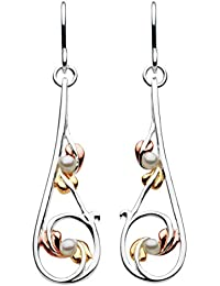 Heritage Women's Sterling Silver and Freshwater Pearls Art Nouveau Leaves Drop Earrings