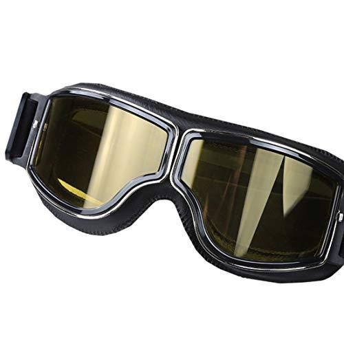 Jsfnngdv Retro Schutzbrillen der Motorradausrüstung im Freien polarisierten die Nacht, die Gläser für Frauenmänner Fahren (Color : Black)