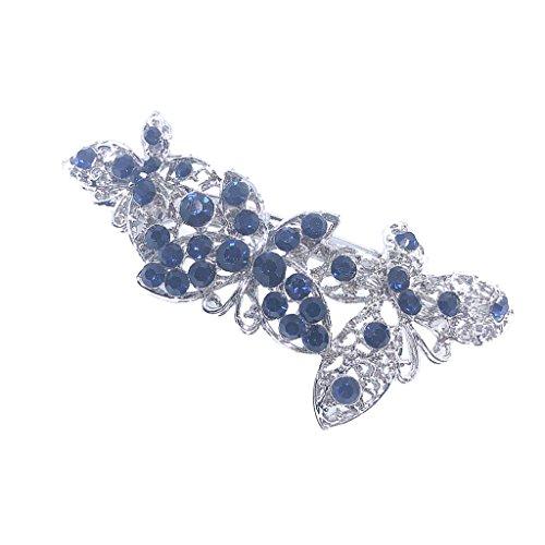 non-brand MagiDeal Pinces à Cheveux de Papillon Orné de Cristal Bleu Barrettes à Cheveux en Alliage Argent Bijoux Délicat pour Fille Femmes Accessoires de Coiffure