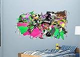 BAOWANG Stickers muraux Splatoon stickers muraux samshed Smash autocollant décoration vinyle mural 3d chambre d'enfants