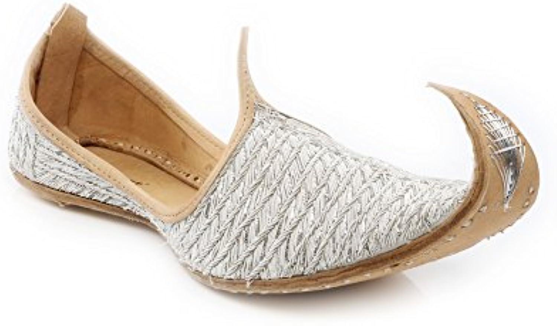 Shalimar Shoes (GS) UK Herren Braumlutigam Glaumlnzendes Leder Traditionell Ethnisch Hochzeit Indisch Handarbeit Pumps