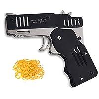 Firesofheaven Black Rubber Band Gun Mini Metal Folding 6 Shot Shooter Outdoor Activities