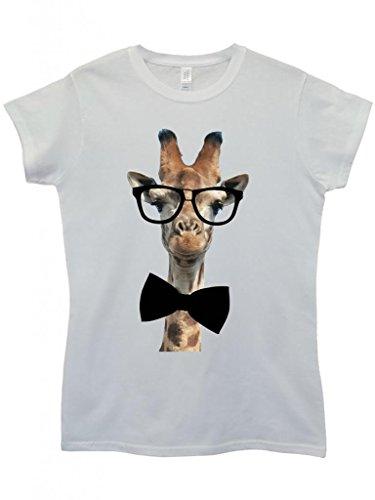 Geek Giraffe Nerd Geek Bow Tie Funny Hipster Swag White Weiß Damen Women Top T-Shirt-Large