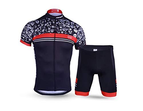 DUBAOBAO Bici da Uomo Equitazione Manica Corta Tuta-per Moto da Strada Outdoor Sportswear-Traspirazione UV-Traspirante/Nero,XL
