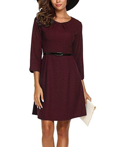 Zeagoo Damen Herbst Winter Langram Vintage kleid Elegant Business Kleid 3/7 Arm Rundhals mit Gürtel