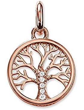 Thomas Sabo Damen-Anhänger Karma Beads Lebensbaum 925 Sterling Silber 750 rosegold vergoldet KC0002-416-14