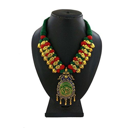 Handmade Gold Platine Meenakari Thread Necklace for Tradional Style Choker