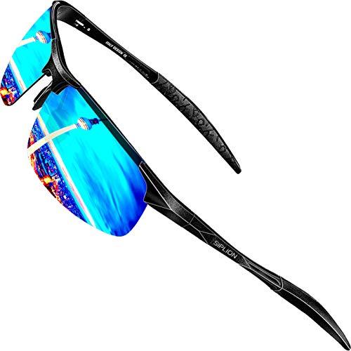 SIPLION SIPLION Herren Sport Polarisierte Treiber Glasses Sonnenbrillen Al-Mg Metallrahme Ultra leicht 8177 Blue