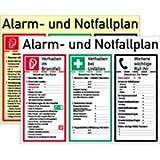 Schild Aushang Alarm- und Notfallplan weiß 48x62cm PVC