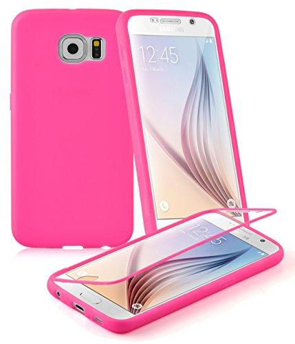 Preisvergleich Produktbild Cadorabo - TPU Silikon Schutzhülle (Full Body Rund-um-Schutz auch für Das Display) für > Samsung Galaxy S6 < in HOT-PINK