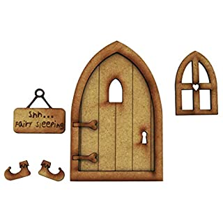 Sleeping Fairy Tür. dreidimensionale Selbstmontage Kit Fairy Tür Craft Holz mit Fairy Fenster, Schild & Fee Hausschuhe