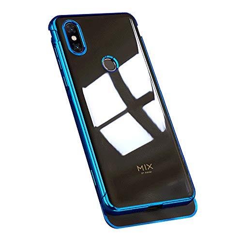 Riyeri Soft Coque pour Xiaomi Mi Mix 3 Placage Transparent Housse Étui en TPU Silicone [Shock Absorption] Clear Crystal Slim Case Cover (Bleu2, Xiaomi Mi Mix 3)