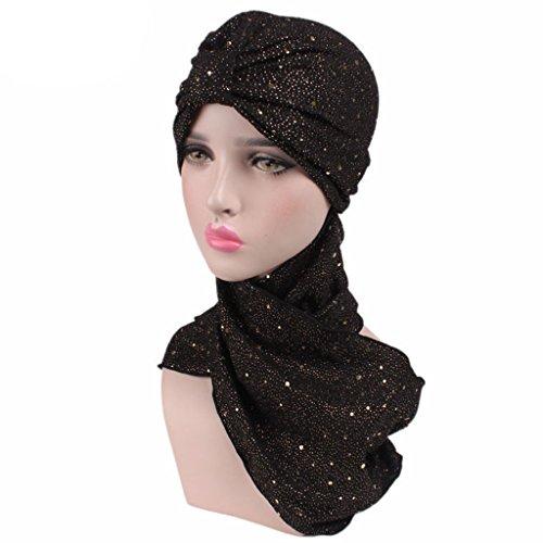 Haorw Frauen Neu muslimische Kopftuch Schal mit Paillette Indische Turban-Hüte Turbanmütze Kopfbedeckung (schwarz)