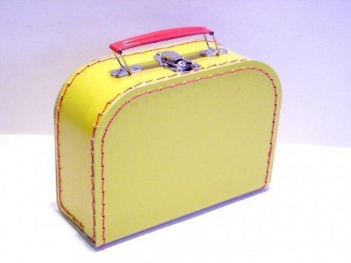 Koffer Pappe, gelb, mittel, 20cm, Pappkoffer